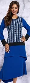 Donna 18158 Novelty Knit Fabric Tunic & Skirt Set With Muliti Color Pattern
