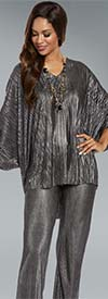 Donna 18159 Novelty Knitted Metallic Fabric Tunic & Pant Set