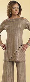 Donna 18110 Novelty Knit Tunic & Pant Set With Grommets