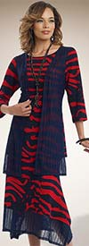 Donna 18111 Novelty Knit Tunic & Skirt Set With Mesh Accents