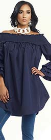 Donna 18127-Navy - Womens Off The Shoulder Smocked Tunic With Ruffles