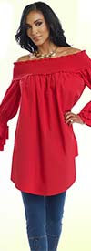 Donna 18127-Red - Womens Off The Shoulder Smocked Tunic With Ruffles