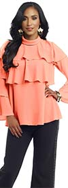Donna 18130 Womens Layered Top With Crepe Fabric