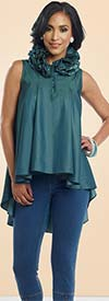 Donna 18131 Womens Ruffle Neck Tunic With Cotton Blend Fabric