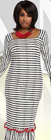 Donna 18173 Novelty Knitted Embroidered Jacquard Fabric Striped Tunic & Skirt Set
