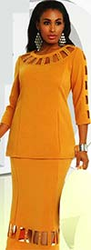 Donna 18174 Novelty Knitted Jacquard Fabric Cut-Out Design Tunic & Skirt Set