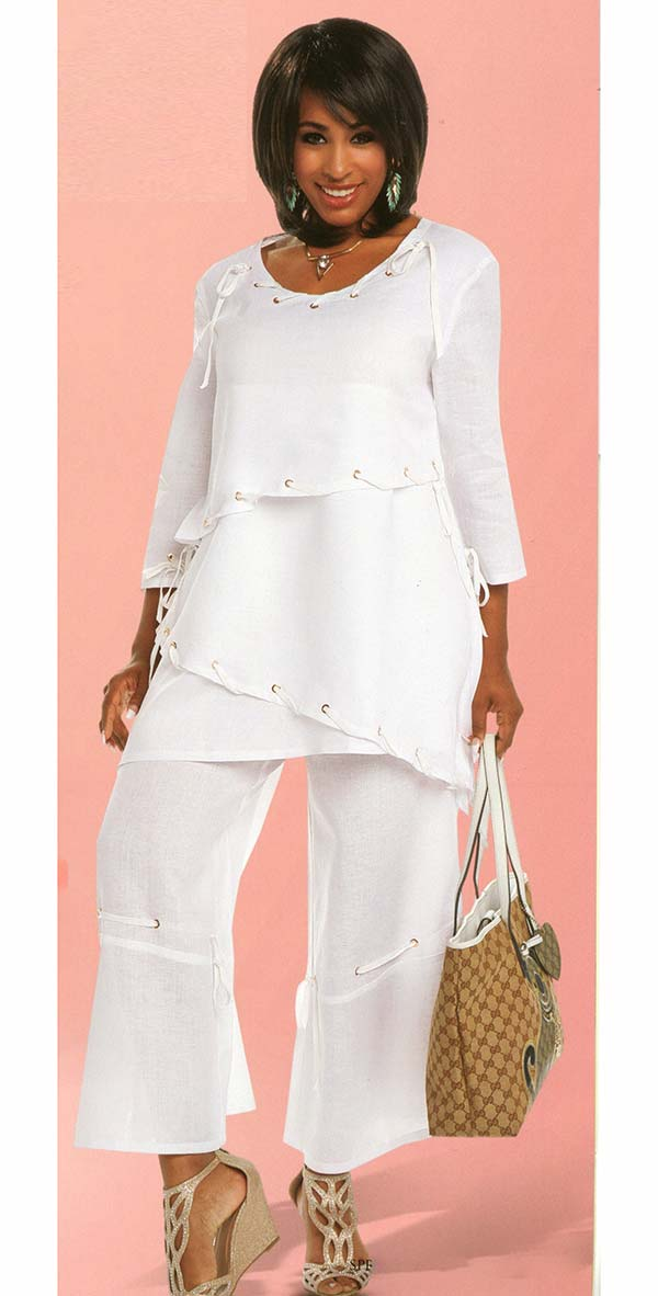 Lisa Rene 3314 - Tunic & Pant Set With Gold Grommets & Lacings