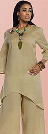 Lisa Rene 3322 - Tunic & Pant Set With Wooden Trims