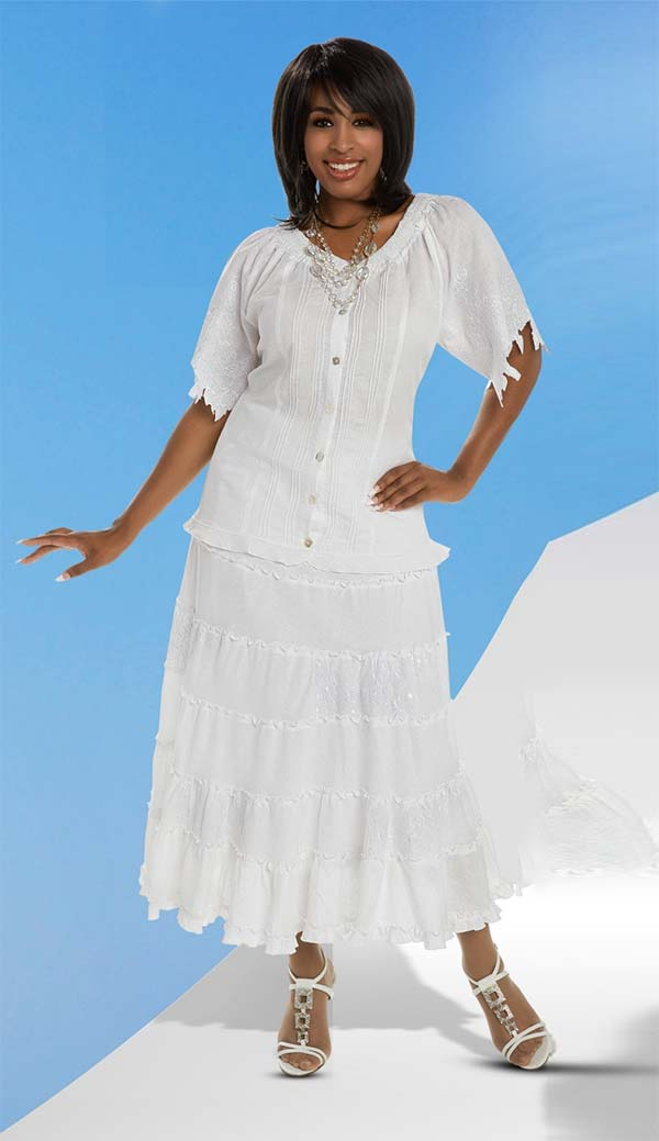 Lisa Rene 3324 - Linen Ramie Fabric Skirt Suit With Elaborate Embroidery Trims