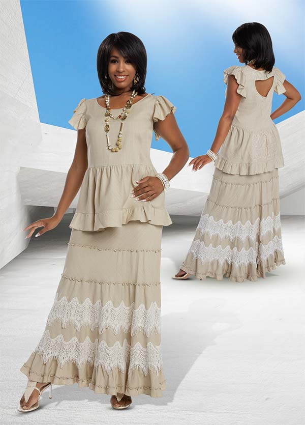Lisa Rene 3325 - Ruffle Cap Sleeve Top & Skirt Set With Guipure Lace Trims