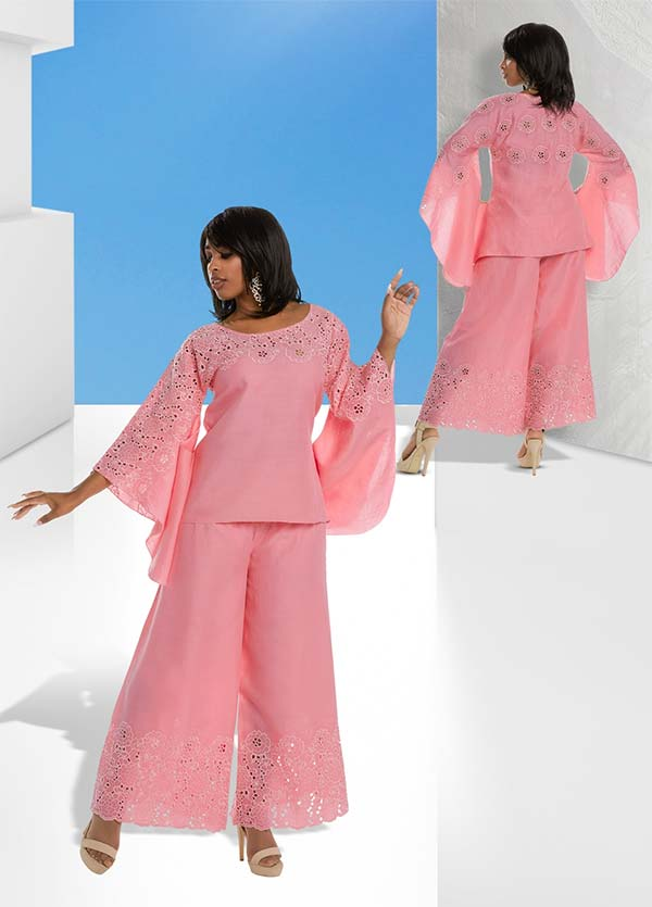 Lisa Rene 3326 - Layered Angel Sleeve Tunic & Pant Set With Embroidery Details