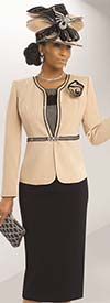 Donna Vinci 11490 Ladies Peach Skin Skirt Suit
