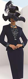 Donna Vinci 11491 Womens Elaborate Rhinestone Trimmed Suit