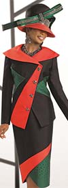 Donna Vinci 11508 Womens Embellished Color Block Suit