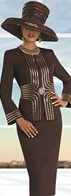 Clearance Donna Vinci 11514 Womens Copper Rhinestone Trimmed Suit
