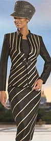Donna Vinci 5545 Womens Faux Leather Gold Trim Suit