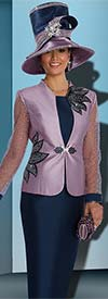 Donna Vinci 11557 Rhinestone Trimmed Womens Skirt Suit With Embroidered Sleeves
