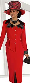 Clearance Donna Vinci 11562 Ladies Church Suit With Layered Collar & Turned Up Cuffs