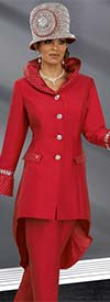 Donna Vinci 11567 Womens Pant Suit For Church With High Low Jacket & Rhinestones