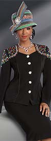 Donna Vinci 11569 Multi Color Rhinestone Embellished Skirt Suit For Church
