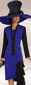 Donna Vinci 11570 Rhinestone Embellished Ladies Church Suit With Layered Side Ruffle