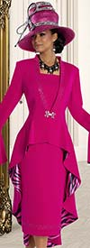 Donna Vinci 11584 Skirt Suit For Church With High Low Jacket & Flounce Cuffs