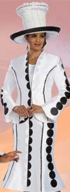 Donna Vinci 11588 Womens Flared Skirt Suit With Circular Pattern Design