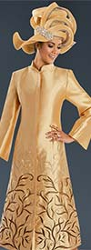 Donna Vinci 11590 Dress Coat With Elaborate Colored Embroidery & Organza Insets