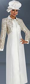 Donna Vinci 11591 Womens Dress Coat With Elaborate Silver & Gold Guipure Lace