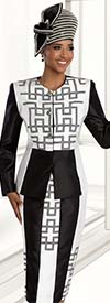 Donna Vinci 11592 Womens Silk Look Skirt Suit With Geometric Pattern