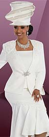 Clearance Donna Vinci 11600 First Lady Church Suit With Flounce Hem & Rhinestone Trims