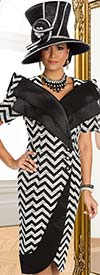 Clearance Donna Vinci 5568 Portrait Collar Church Dress With Chevron Print