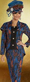 Donna Vinci 5570 Womens Suit With Bertha Style Collar And Colorful Print