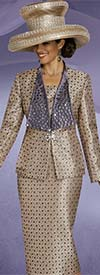 Donna Vinci 5571 Rhinestone Embellished Ladies Church Suit With Wide Lapels