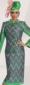Donna Vinci 5573 Womens Skirt Suit With Multi Print Design & Gold Studs
