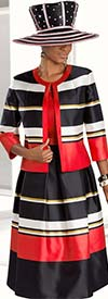 Donna Vinci 5579 Pleated Bell Skirt Suit With Striped Design