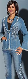 Donna Vinci DV Jeans 8415 Womens Distressed Look Denim Jacket & Pant Set With Embroidery