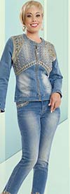 Donna Vinci DV Jeans 8416 Womens Embellished Denim Jacket & Pant Set