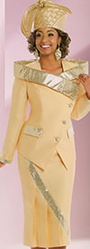 Donna Vinci 11459 Sequin Trimmed Pleated Skirt Suit For Church