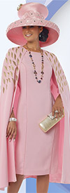 Donna Vinci 11519 Ladies Peach Skin Capelet Dress For Church