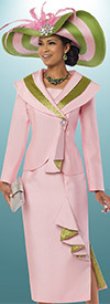 Donna Vinci 11520 Womens Skirt Suit With Over The Shoulder Collar