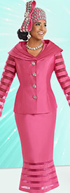 Donna Vinci 11523 Ladies Skirt Suit With Striped Organza Insets