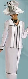 Donna Vinci 11526 Womens Skirt Suit With Rhinestone Trims