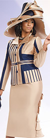 Donna Vinci 11527 Womens Ruffle Skirt Suit With Inset Strappings
