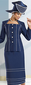 Donna Vinci 11529 Womens Skirt Suit With Pearl Trims & Buttons