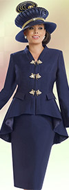 Donna Vinci 11531 Womens Skirt Suit With High Low Peplum Jacket