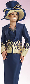 Donna Vinci 11533 Womens Skirt Suit With Elaborate Embroidered Jacket