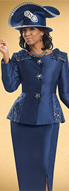 Donna Vinci 11534 Womens Skirt Suit With Printed Peplum Jacket