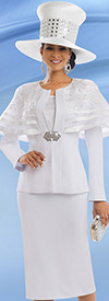 Donna Vinci 11537 First Ladies Church Suit With Organza Cape