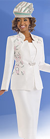 Clearance Donna Vinci 11539 Womens Skirt Suit For Church With Embroidered Design